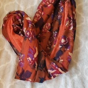 Floral Orange Fall Infinity Scarf